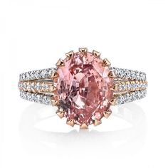 Omi Prive: Padparadscha Sapphire and Diamond Ring