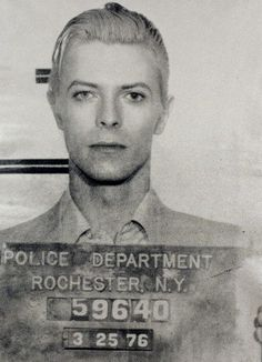 This mugshot was taken four days after David Bowie was arrested for possession of cannabis. Police busted 29-year-old Bowie, his buddy Iggy Pop and a couple ladies at 2:25am in The American Rochester Hotel following a concert in town. S)