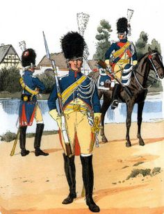 Electoral police Imperial Guard. From left to right: gendarme in uniform, near a gendarme in a small uniform (Watchtower), mounted policeman in uniform near. Fig. R. Knotel.