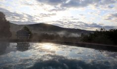 Swimming pool at sunset at the Windham Hill Inn