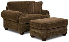 Regency Chair and a Half with Ottoman by United Furniture Industries