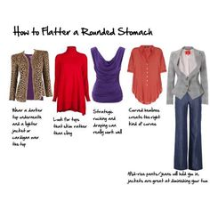 How to Flatter a Protruding Stomach - Inside Out Style Apple Shape Outfits, Apple Shape Fashion, Clothes For Apple Shape, Look Fashion, Fashion Outfits, 80s Fashion, African Fashion, Stylish Outfits, Runway Fashion