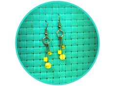Hello Sunshine Handmade Beaded Earrings www.deliriousdezigns.etsy.com