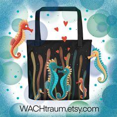Tragetasche mit verliebten Seepferdchen, Grösse ca. 38 x 38 cm, schwarz von WACHtraum auf Etsy Pack And Ship, Underwater World, Clipart, Carry On, Panda, Love, Tote Bags, Illustration, Fabric