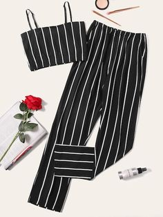 Girls Fashion Clothes, Teen Fashion Outfits, Cute Fashion, Cute Lazy Outfits, Stylish Outfits, Summer Outfits, Striped Cami Tops, Jugend Mode Outfits, Teenager Outfits