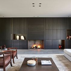 Modern Fireplace, Fireplace Wall, Fireplace Design, Sutton House, Interior Architecture, Interior Design, Japanese Interior, Wall Cladding, Living Room Tv
