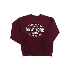 Property of NYU Crew Sweatshirt ($29) ❤ liked on Polyvore featuring tops, hoodies, sweatshirts, sweaters, shirts, crew-neck sweatshirts, crew shirt, crew neck shirt, purple shirt and crew neck sweatshirts