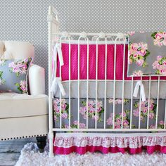 Caden Lane Baby Bedding - love the vintage floral print, and POP of pink! It's an original twist on the popular pink & gray nursery trend!