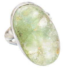 Huge Rough Prehnite 925 Sterling Silver Ring Size 8.75 RING754682