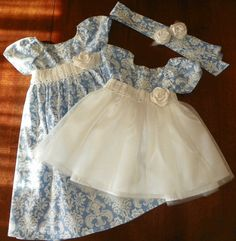 Dress girls- toddler- Flower Girl- Damask and Tulle with crochet or satin sash, Wedding ,formal