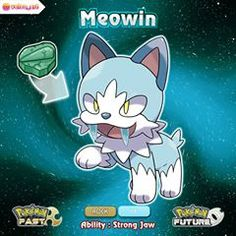 The Fang fossil has been restored! It's Meowin the Snow Kitty Pokemon! Pokemon Maker, Oc Pokemon, Pokemon Pokedex, Pokemon Eeveelutions, Eevee Evolutions, Pokemon Fan Art, Pokemon Fusion, Fanart Pokemon, Fossil Pokemon