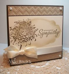With Heartfelt Sympathy ... gorgeous card by Vicki Burdick. Beautiful use of chevron embossing folder, Blooming with Kindness stamp set, Apothecary framelits and new piercing kit.