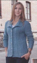 Схема вязания: Жакет с воротником на застежках | Пуловеры спицами - petelka.net