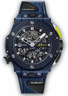 Hublot Big Bang Texalium Blue Carbon Unico Golf Limited Edition (for The Golf Player) Best Mens Luxury Watches, Hublot Classic Fusion, Hublot Watches, Clock Display, Golf Player, Automatic Watches For Men, Black Rubber