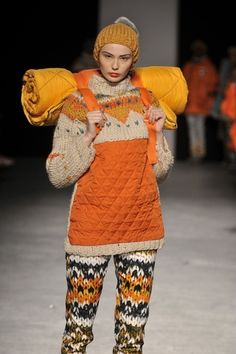 Laura Williams. Intricate designs based on vintage sportswear and Nordic/Fair Isle knitwear.