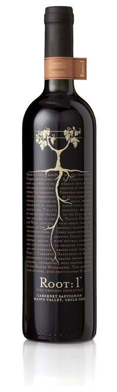 I swear Root: 1 Cabernet Sauvignon is one of the most delicious wines I have ever tasted, hands down. Wine Bottle Design, Wine Label Design, Wine Bottle Labels, Wine Bottles, Beer Labels, Beverage Packaging, Bottle Packaging, Coffee Packaging, Food Packaging