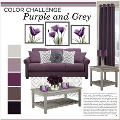 Purple and Grey Living Room by lalalaballa22 on Polyvore featuring polyvore, interior, interiors, interior design, home, home decor, interior decorating, Portfolio, Nearly Natural and Saro