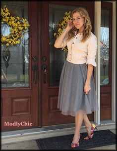 Kohls gray tulle skirt and pink denim jacket with floral heels. Perfect #Spring #OOTD