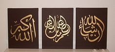 Handmade Arabic Calligraphy Islamic Pictures Wall Art 3 Piece Oil Paintings on Canvas for Living Room Home Decorations Wooden Framed and Stretched Ready to Hang Golden 36 Inches X 16 Inches * Visit the image link more details.