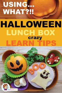 Learn how to make this cute Halloween themed school lunch bento! Ive used an unusual food material . Healthy Kids Party Food, Healthy Lunches For Kids, Kids Meals, Healthy Food, Cute Halloween Food, Halloween Themed Food, Bento Box Lunch For Kids, Lunch Boxes, Lunch Ideas