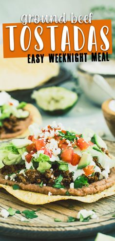 These delicious Ground Beef Tostadas require little prep and are loved by many. Layers of crispy tortilla, refried beans, and ground beef all topped with fresh ingredients such as shredded lettuce, chopped tomatoes, and crumbled cheese. #GroundBeefTostadas #EasyTostadas #DinnerRecipesFoFamily #DinnerIdeas Easy Family Meals, Easy Meals, Healthy Weeknight Meals, Mexican Food Recipes, Ethnic Recipes, Best Dinner Recipes, Refried Beans, Southern Recipes, Tostadas