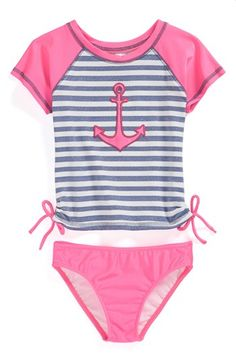 Love U Lots 'Anchor' Two-Piece Rashguard Swimsuit (Toddler Girls) available at #Nordstrom
