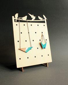 Wooden jewelry stand, organizer, display / minimalist, modern with bird silhouettes / birds on a wire / eco friendly     Wooden jewelry sta...