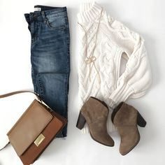 casual weekend outfit ankle booties chunky cable knit sweater