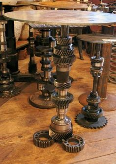 Welded Gear Table. Ben needs this when he gets a man cave