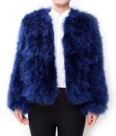 Fluffy Fur Fever Jacket Lapis Blue Front