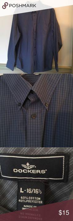 Docker's plaid shirt NWOT. Never worn. Cornflower blue with dark blue small plaid. Docker's size Large (16-16.5). Dockers Shirts Casual Button Down Shirts