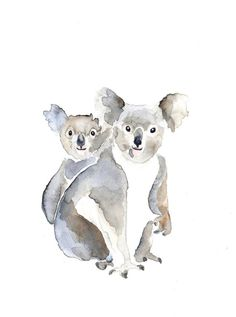 MOM and BABY KOALA Original watercolor painting by Mydrops on Etsy, $20.00