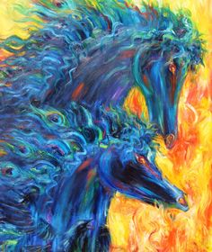 'Flight of Fire & Pity' Horses oil on canvas By Amanda Wright