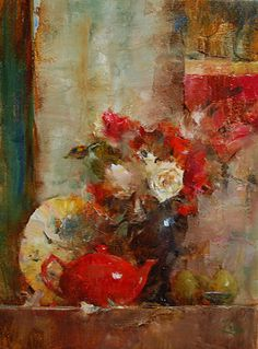 Shelf with Scarlet Teapot by Laura Robb Oil ~ 12 x 9