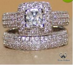 Princess-Cut Diamond Halo Bridal Set Engagement Ring White Gold Over Description ** The images uploaded will not match exactly with the Original products as the images are Photoshoped. After Purchase Kindly Give Us Contact No. Unique Diamond Engagement Rings, Beautiful Engagement Rings, Diamond Wedding Rings, Vintage Engagement Rings, Unique Rings, Solitaire Rings, Stylish Rings, Diamond Rings, Band Rings