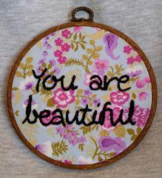 $28 handmade beautiful floral embroidery hoop art
