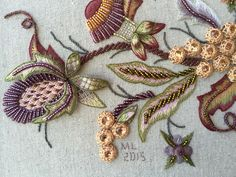Jacobean Late Harvest stumpwork piece, from an awesome workshop with Hazel Blomkamp, at www.koalaconventi... in July 2015. Completed in Dec 2015. Kit avail from Hazel at bit.ly/1MUphjY