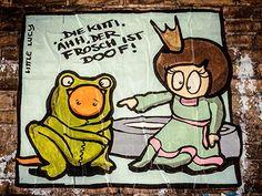 """The Princess and the Frog"" Street Art by #ElBocho in Berlin, Germany entitled ""..Die Kitti. Ahh, Der Frosch ist Doof!""  #Froschkoenig #StreetArt #BrothersGrimm #LittleLucy"