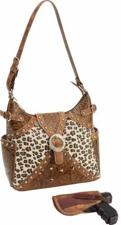 Concealed Carry Ambidextrous Tooled Western Leopard Handbag Purse w/ Holster | The Wanted Wardrobe Boutique