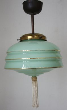 Charming French art deco Opaline Glass Ceiling di labelfrance Glass Ceiling Lights, Opaline, Green And Gold, Glass Shades, Art Deco, Bulb, Charmed, French Art, Lighting