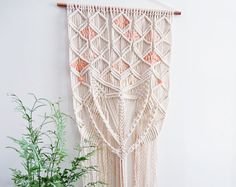 SALE Macrame Wall Hanging Natural White Cotton Rope on