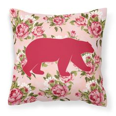 Bear Shabby Chic Pink Roses Fabric Decorative Pillow BB1005-RS-PK-PW1414