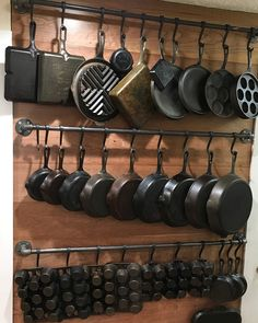 Our sliding Pot Rack Hooks for black iron pipe showing off an amazing collection of cast iron cookware. Our sliding Pot Rack Hooks for black iron pipe showing off an amazing collection of cast iron cookware. Diy Kitchen Storage, Kitchen Pantry, Kitchen Ideas, Kitchen Rack, Kitchen Trends, Kitchen Shelves, Rustic Kitchen Cabinets, Rustic Kitchen Decor, Big Kitchen