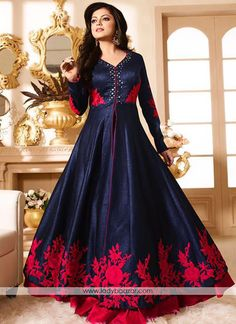 Adorable embroidered and mirror work anarkali suit #Embroidered #Anarkali #Slit