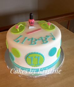 Girls Pedicure Birthday Party Cake