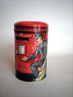 Vintage Red Candy Tin Bank Churchill's Heritage of England Post Box