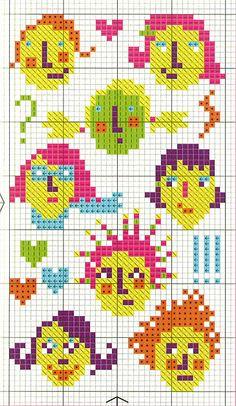 enfant - child - tête - point de croix - cross stitch - Blog : http://broderiemimie44.canalblog.com/