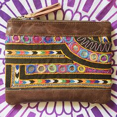 Vintage Banjara Clutch with Dark Brown Leather in Yellow, Pink, Green, Red and Blue