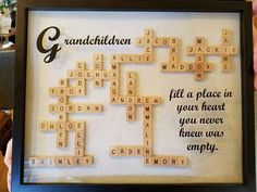 Best Diy Christmas Presents For Mom Scrabble Tiles Ideas Christmas Presents For Moms, Diy Christmas Gifts, Holiday Crafts, Christmas Gifts To Grandparents, Family Tree Gifts, Xmas, Christmas Crafts For Gifts For Adults, Family Trees, Scrabble Letter Crafts