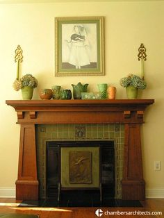 Craftsman fireplace on which Chambers Architects based their design for the great room in a home near Dallas, Texas. It features an oak mantel and handmade Arts & Crafts tiles from North Prairie Tileworks. Teco pottery, on top, is from the period. - See more at: http://chambersarchitects.com/blog/258-the-arts-and-crafts-movement-craftsmen-vs-machines.html